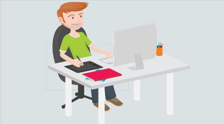 Figura representando um jovem sentando a frente de um computador com se estivesse trabalhando