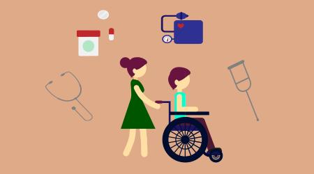 Imagem ilustrativa representada por uma pessoas empurando outra pessoa que está em uma cadeira de rodas