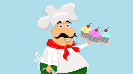 Imagem ilustrativa representada por um senhor com roupa de cozinheiro, segurando um bandeja cheia de doces