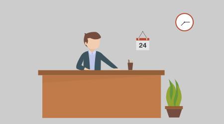 Figura ilustrativa representada por um homem atrás de um balcão dando ideia de um porteiro de prédio