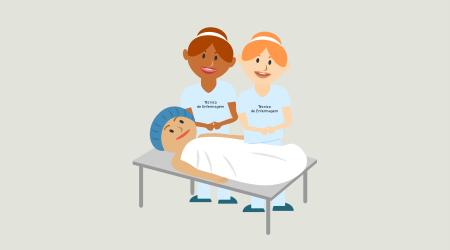 Ilustração com uma pessoa em uma maca e uma enfermeira ao lado.