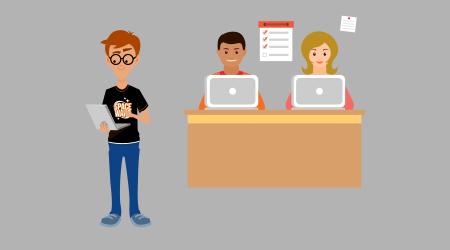 Ilustração representando um professor e, a sua frente, tem duas pessoas utilizando computadores.