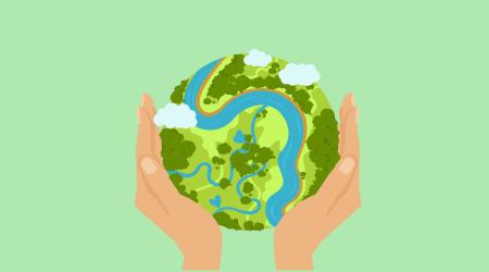 Ilustração de um Globo terrestre sendo segurado por duas mãos.