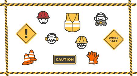 Ilustração contendo objetos de segurança, tais como; colete, capacete, placas indicativas, cones e outros.